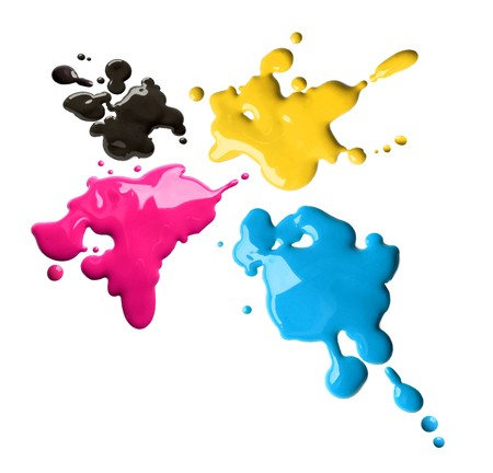 Splashes of four color printing inks cyan magenta yellow black Stock Photo