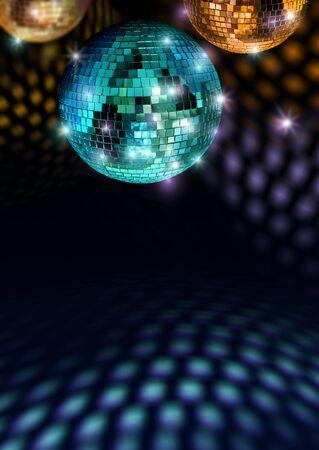 fiestas discoteca: Bolas de espejo coloridos reflejan la luz en discoteca de techo y piso