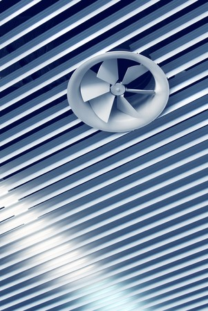 Ventilation: Air conditioning cool air vent fan on ceiling Stock Photo