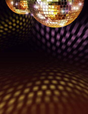 Reflexiones de bolas de espejo de disco de oro en techo y piso