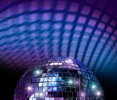 mirro: Disco mirro ball light spot reflections in blue background Stock Photo