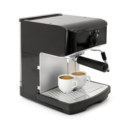 coffee maker: Stylish black espresso making machine brewing two cups of coffee, isolated on white background Stock Photo