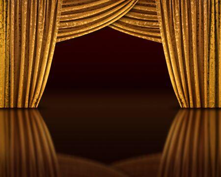 Golden Vorhänge offene Bühne reflektieren aus dunklen Boden