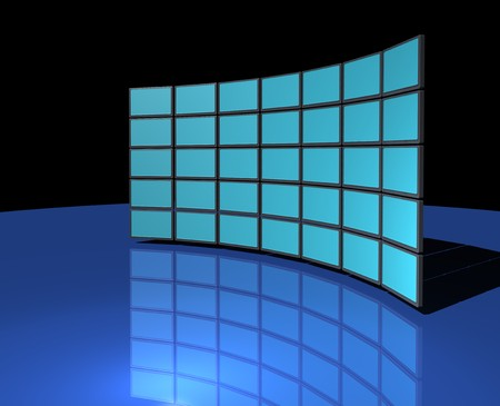 Widescreen monitor display wall on dark blue reflective background photo