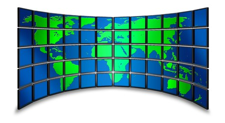 Multimedia wide screen monitor wall with world map photo