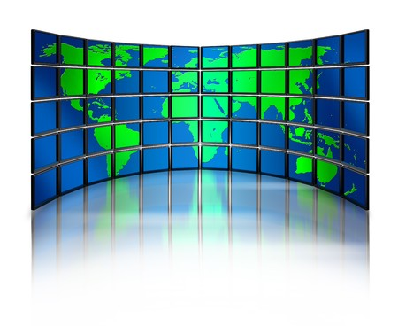 Multimedia wide screen monitor wall world map on reflective background photo