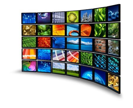 multiple image: Multimedia wide screen monitor wall with colorful images