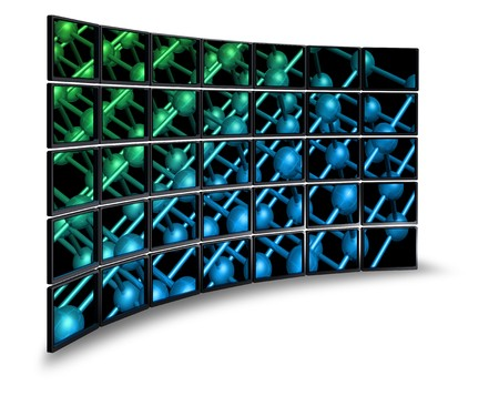 Multimedia wide screen monitor wall with nanoparticle image photo