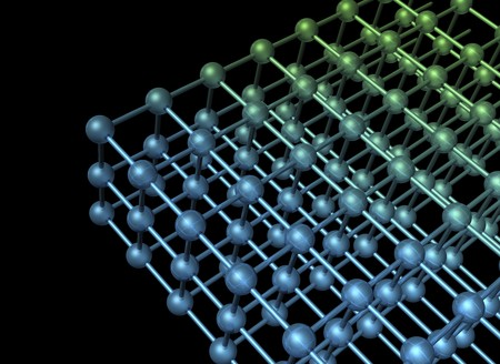 Nanotechnology particle 3D structure with atoms and bindings on dark background photo