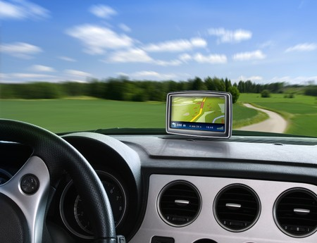 Gps auto navigation when travelling on countryside road Stock Photo - 7944694