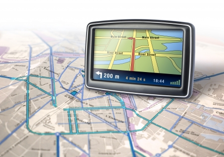 Gps auto navigator device on city map background photo