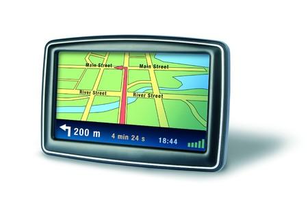 GPS auto dispositivo de navegador sobre fondo blanco
