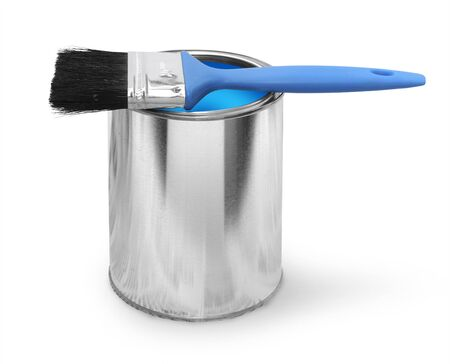 Paint brush with blue paint can isolated on white background photo