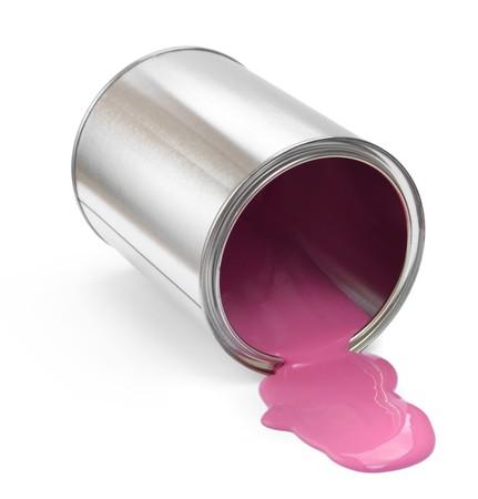Pintura ca�do puede con derrame de pintura rosa