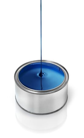 paintbucket: Glossy blue paint dripping in metal tin can Stock Photo