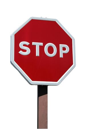 Real stop sign isolated with details on white background photo