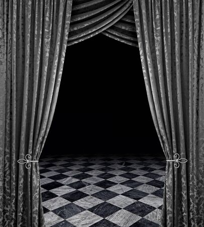 drapes: Silver curtains reveal open stage with checkered marble floor