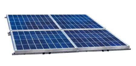Group of four solar panels on white background isolated photo