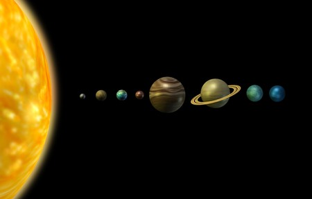 jupiter: Solar system 3d illustration sun and planets on black background