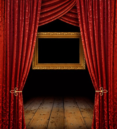 curtain theatre: Red stage curtains reveal golden frame and old wooden floor