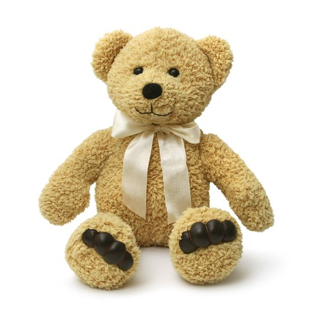 plush toy: Cute teddy bear sitting happy on white background isolated Stock Photo