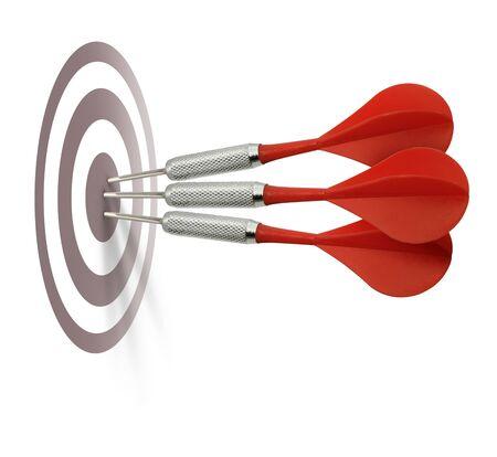 marksmanship: Three red darts hitting target center bulleye isolated