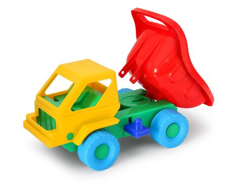 Colorful toy truck unloading isolated on white background Stock Photo - 7945209