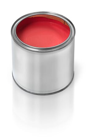 paint can: Tin metal can filled with red paint, on white background