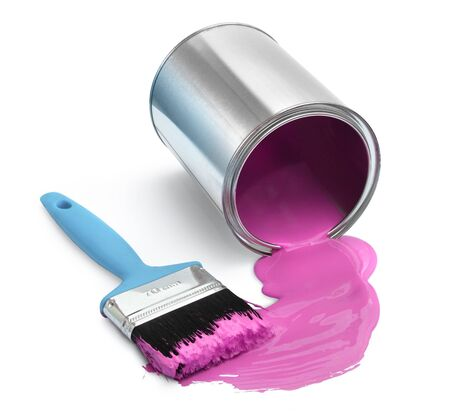 paint container: Magenta red paint tin can fallen, with blue brush on white background isolated