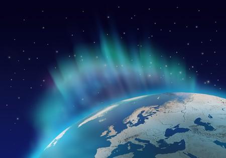 Northern lights aurora borealis over planet Earth northern hemisphere Stock Photo - 8058196