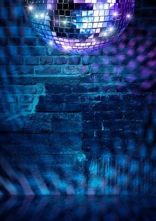 Mirror ball lights on dramatic dark disco brick wall photo