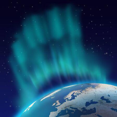 Enorme Norte luces aurora boreal en el hemisferio norte de planeta tierra  Foto de archivo