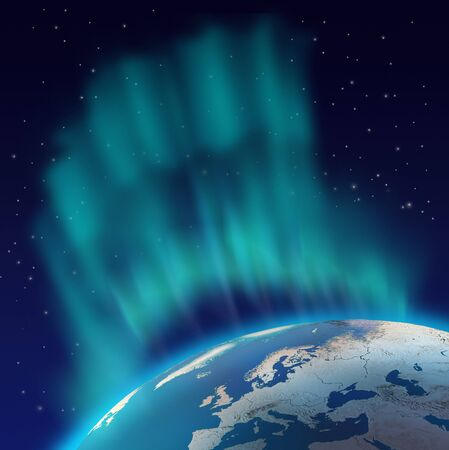 the aurora: Huge northern lights aurora borealis over planet Earth northern hemisphere