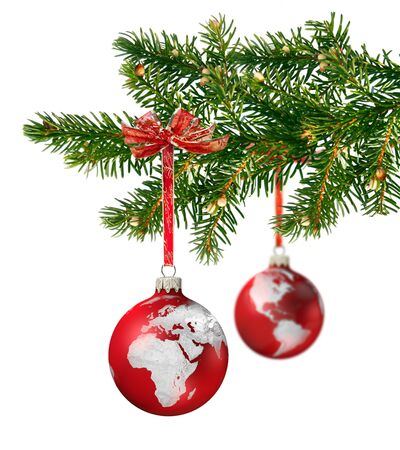 branche sapin noel: World continents glass balls hanging on green Christmas tree branch