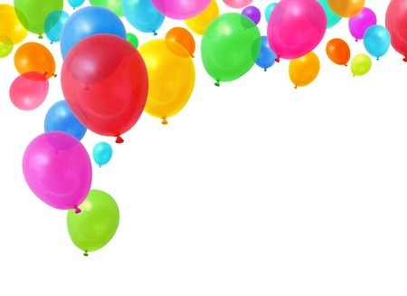 Colorful birthday party balloons flying on white background photo