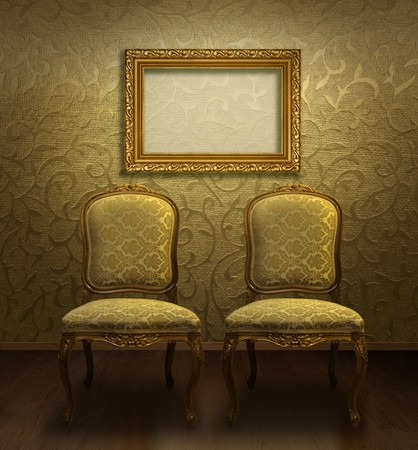 Two antique chairs and empty frame in gold brocade decorated room photo