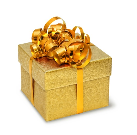 Brocade ornament present box with golden silky bow Stock Photo - 8331442
