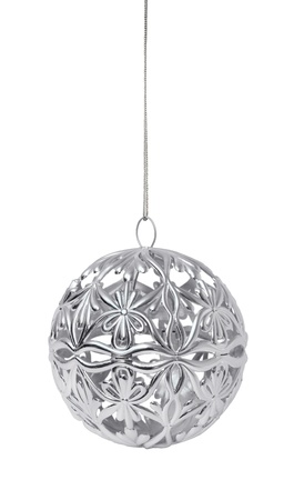 Shiny silver Christmas ball hanging, isolated on white background Stock Photo - 8331446