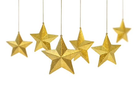 gold stars: Six golden Christmas decoration stars hanging isolated on white background