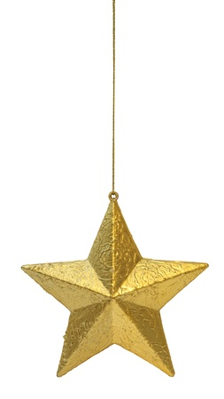 gold stars: Golden Christmas decoration star hanging isolated on white background Stock Photo