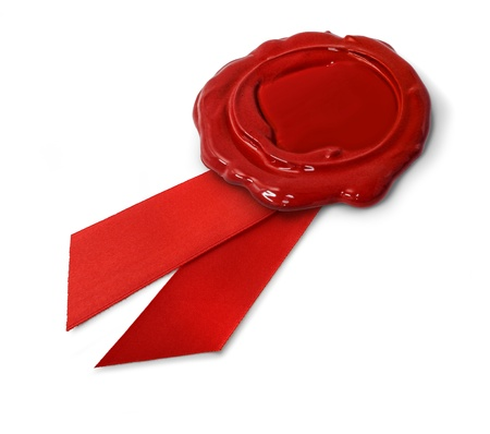 Red wax seal with ribbon isolated on white background photo