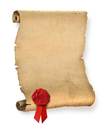 Old ragged parchment roll with red wax seal photo