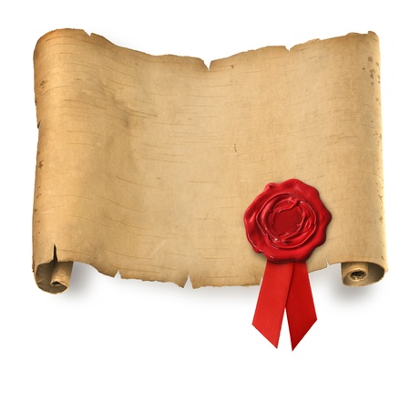 Old ragged parchment roll with red wax seal Stock Photo - 8371750