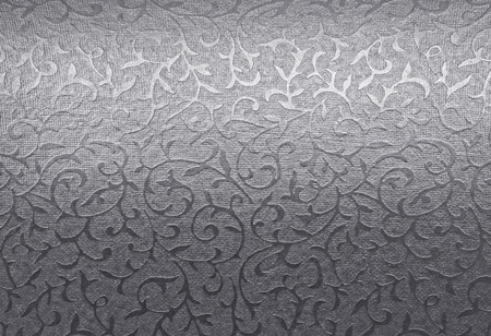 silver background: Silver floral ornament brocade textile pattern