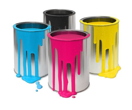 paint tin: Metal tin cans with four process color cmyk paints flowing Stock Photo
