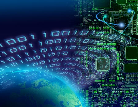Binary data around globe, circuit board background, global digital technology concept Stock Photo