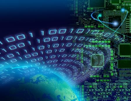 Binary data around globe, circuit board background, global digital technology concept Archivio Fotografico