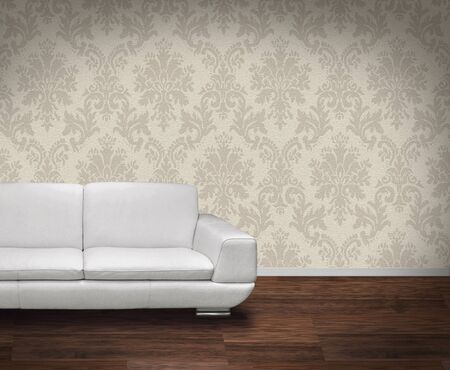 Modern white leather sofa in room with dark wooden floor Stock Photo - 8506135