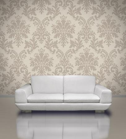 leren bank: Moderne wit leerbank in licht damast patroon stucwerk muur kamer