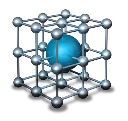 nanoparticle: Nanoparticle atom grid model with blue and chrome elements